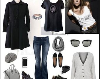 Black Crepe Wool Coat 60'S Style Luci Lü