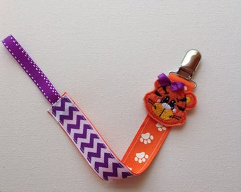 Clemson Baby Tiger Inspired Feltie Pacifier Leash, Tiger Baby Pacifier Leash, Tiger Baby Binky Leash,  Clemson Baby Shower Gift