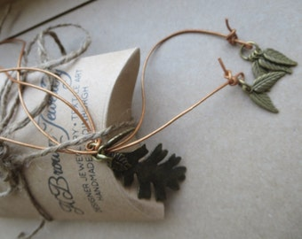Leaf Lariat, Bronze Leaf Lariat, Leaf YNecklace, Handmade Lariat Necklace, Leaf Pendant Necklace, Designed Edinburgh by K Brown Jewellery