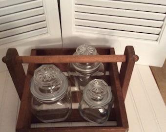 Wooden basket/ wooden tote/ farmhouse basket/ rustic basket/ curiousitybarn