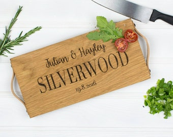 Personalised Chopping Board | Oak Chopping Board | Oak and Leather Chopping Board | Wedding Gift | 5 Year Anniversary