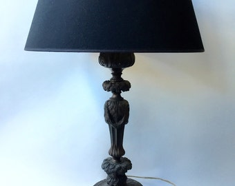 Sale. Free shipping. Antique bronze Empire table lamp with marble base