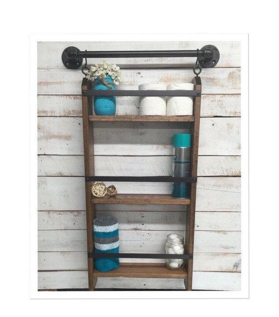 Bathroom ladder shelf rustic bathroom shelf industrial shelf