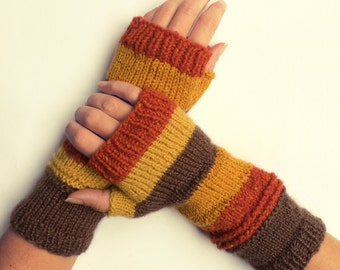 Knit fingerless gloves arm warmers fingerless mittens knit wrist warmers hand warmers striped custard brown grey