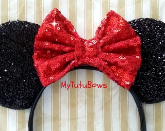 READY to SHIP Minnie Mouse Ears Headband Black Shimmering Ears Red Sequin Bow CHOOSE Bow Color  Fits Adults and Children Sparkle Sequin