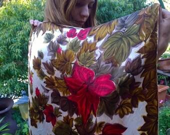 Vintage silk scarf - autumn/fall colours on a cream/white background