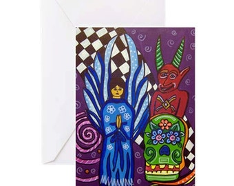 Day of the Dead-Angel & Devil - 4 Greeting Cards By Artist A.V.Apostle