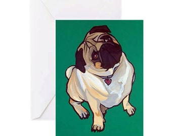 Pug Dog with Green - 4 Greeting Cards By Artist A.V.Apostle