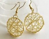 Gold wire worked hoop/danggle earrings