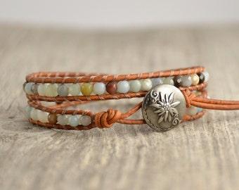 Light blue beach bracelet. Skinny beaded bracelet