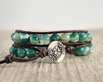 Chunky natural double wrap bracelet. Green bead bracelet. Beaded earthy leather wrap