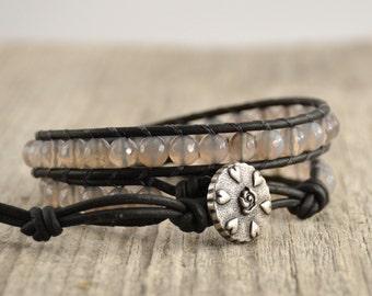 Semiprecious gemstone bracelet. Grey bead wrap bracelet