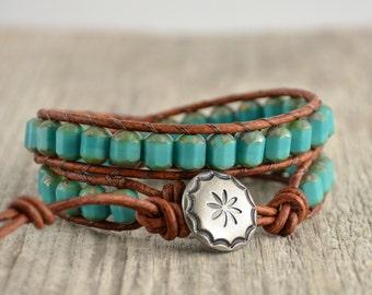 Turquoise and brown bracelet. Hippie jewelry. Double wrap bracelet