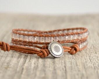Light grey and brown wrap bracelet. Skinny beaded bracelet