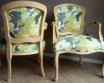 Vintage Pair of Bergere Chairs with Slipcovers