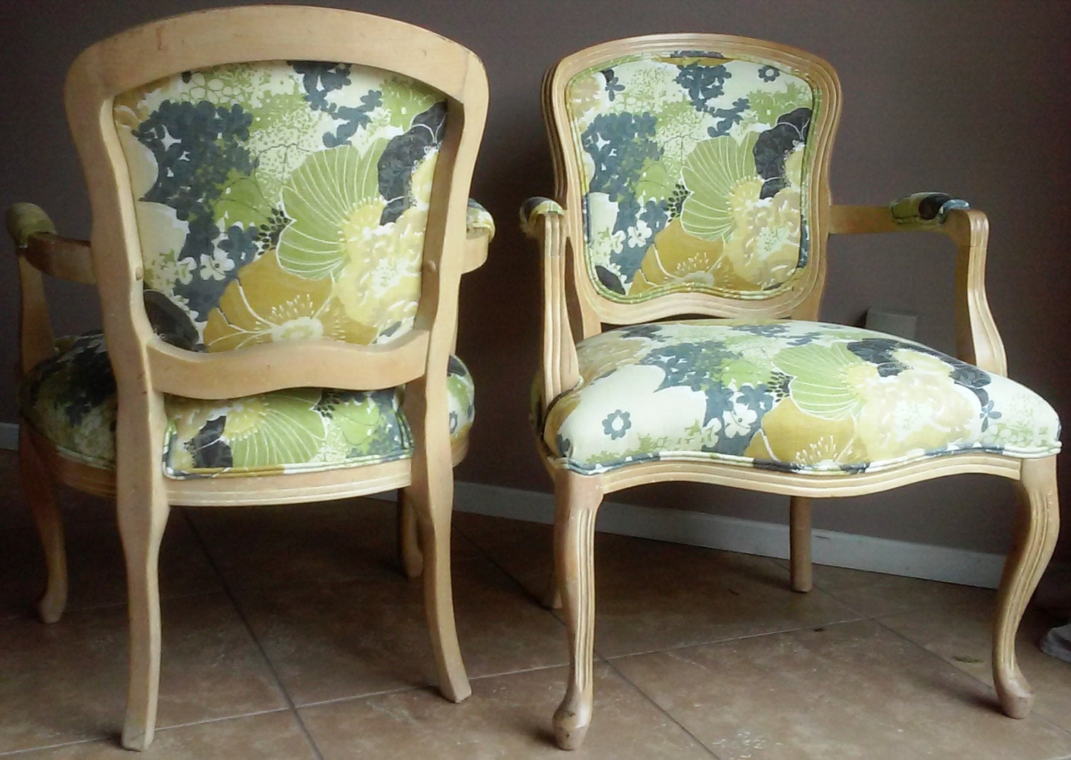 Bergere chair and ottoman - Details Pair Of Vintage Bergere Chairs