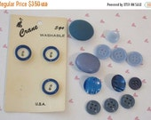 End of Summer Sale Vintage Assorted Shades of Blue Buttons