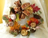 Autumn, Fall Wreath, Sparkly Pumpkins, Autumn Fall Leaves, Door Wreath, Wall Wreath, Home Decor,Brown, Orange, Gold, Green,