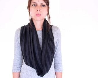 SALE - Infinity jersey scarf - soft circle loop neckwarmer - black grey stripes jersey snood scarf, mens cowl, tube scarf