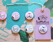 Envelope, Inkwell, and Love Letter Pin Badges (Penpal - Snail Mail Love - Illustration - Hand Drawn - Pin Game)