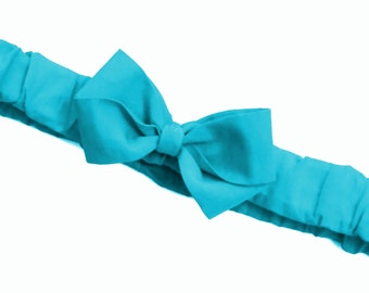 Soft Turquoise Ruffled Bow Headband . Baby sizes: 0-6m, 6-12m, 12m plus & Made to Measure for Preemie, Baby, Toddler, Girls, Adults