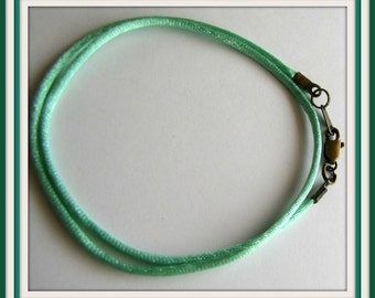 14 to 24 inch Mint Green Necklace Cord, Green Satin Necklace Cord, 2mm Cord, Antique Brass, Silver plated, Gold plated  Lobster Claw, custom
