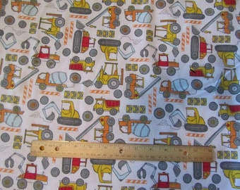 White with Multicolor Construction/Dozer Flannel Fabric by the Yard