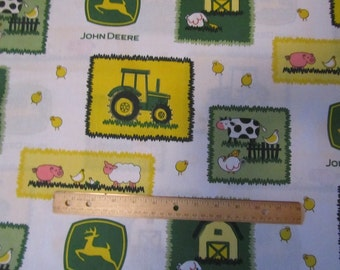 White John Deere Blocked Farm  Cotton Fabric by the Yard
