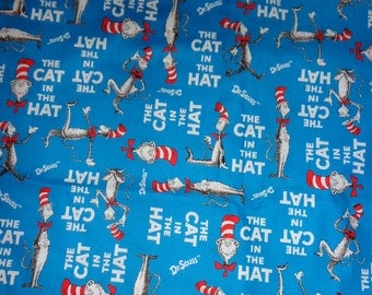 Blue Dr Seuss Cat in the Hat  Cotton Fabric by the Yard