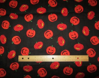 Black with Orange Halloween Pumpkins Cotton Fabric by the Yard