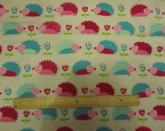 Cream Girl Pink/Blue Hedge Hog/Flowered Flannel Fabric by the Yard