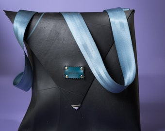 Rubber Messenger Bag // Upcycled Shoulder Bag // Rubber Messenger Bag // Black Messenger Shoulder bag //