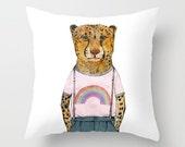 Kids Throw Pillow, Kids Cushion, Kids Art Decor, Nursery Decor, Baby Animal, Cute Pillow, Cat Pillow, Cheetah, Kids Room Decor,
