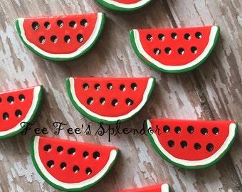 2 pc set- Summer Watermelon fruit cabochon- Flat back resin -Hair bow center- Flatback resin