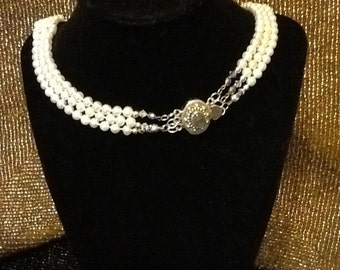6MM Pearl Necklace!! Art Deco 3 Strand White Freshwater Cultured Pearl Necklace with Silver Findings and Spectralite Clasp!!