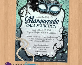 Masquerade Gala & Auction or Birthday Invitation Printable
