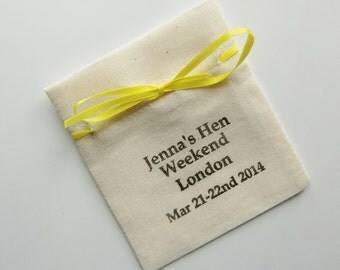 Personalized Hen Party Favour Bag-Fine Quality Muslin Bags-4 x 3-Various Qtys-Name/Date-Ribbon Tie-Hen Party Favor-Hen Party Ideas-Hen Party