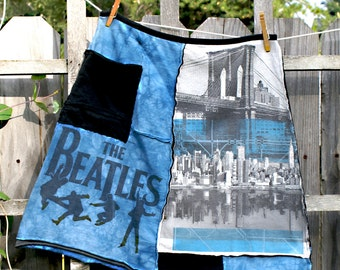 Upcylced Beatles skirt, tshirt skirt, Woman's upcycled clothing, recycled skirt, repurposed, recycled