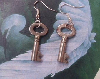 Antique key earrings