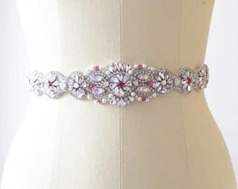 Rose Quartz Bridal belt, Beaded Swarvoski Pink Bridal Sash, Bridal Belt, Rhinestone Bridal Sash, Wedding belt, one-of-a-kind, #4009