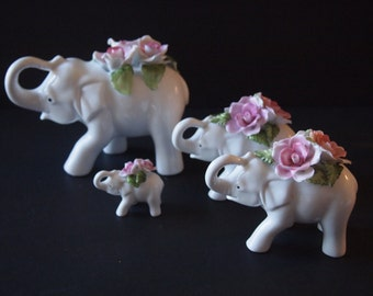 Porcelain White Elephants (Set of 4)