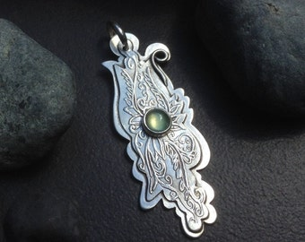 Long prehnite pendant or necklace, pale green stone set in layered sterling silver tht has a delicate leaves, vines, tendrils pattern