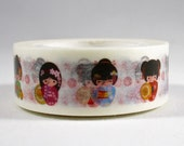 SALE Kokeshi Girls 15mm x 10 meters,  Artwork by Natalia Linn for MechaKucha808-Tape