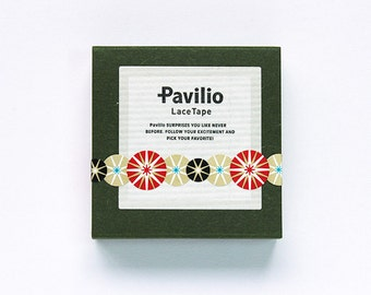 "CLEARANCE!! Japanese Designer Washi Tape Pavilio Lace Tape Mini ""Temari"" in Red 10 mm x 6 meters"