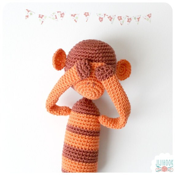 Amigurumi Monkey Etsy : Crochet Monkey Amigurumi Blue by Jijihook on Etsy