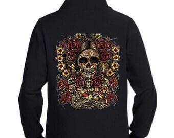 Day of the Dead Zip Up Black Hoodie Sweatshirt S M L XL Plus Size 1x 2x 3x 4x 5x