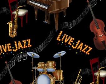 Live Jazz Instruments - Jazz Collection - Elizabeth's Studio 146-BLACK (sold by the 1/2 yard)