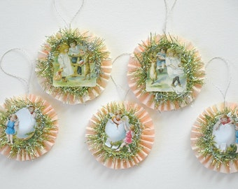 Easter Crepe Paper Rosette Ornaments / Set of 5 / Feather Tree Ornaments