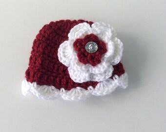 Crochet premie hat, baby girl hat, red hat, premie hat with flower
