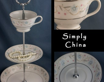Tiered Cake Stand, 3 Tiered Server with Blue and White China English Garden Teacup Stand Tidbit Catchall Tray Hostess Housewarming Gift